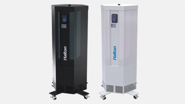 Unità mobile filtrazione aria radiazione UV germicida Halton Sentinel riduce rischio infezioni respiratorie Solving Italia